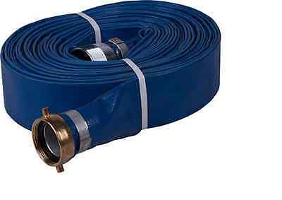 """4"""" x 50ft Water discharge hose w/Pin lug NPT fittings  Blue PVC"""