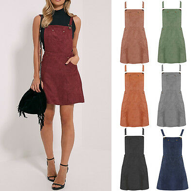 New Women Ladies Faux Suede Pinafore Skater A Line Dungaree Mini Dress 6-18 UK