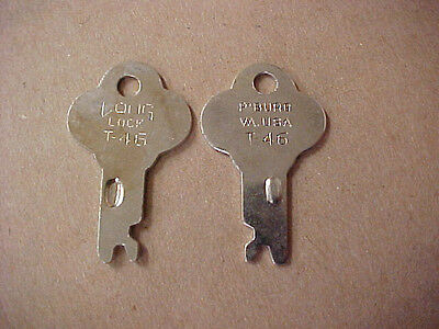 Two (2) Trunk Lock Keys T-46 T44 T46K Long Lock Co - Fits many footlockers
