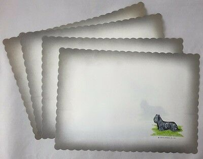 Rare Vintage Set of 4 Skye Terrier Dog Place Mats Larklain Products