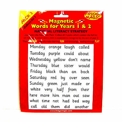 Magnetic High Frequency Words Literacy 5+ years Year 1 & 2 Fridge Magic Pk 3 NEW