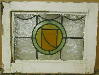 "OLD ENGLISH LEADED STAINED GLASS WINDOW Cute Circular Abstract 18.25"" x 13.75"""
