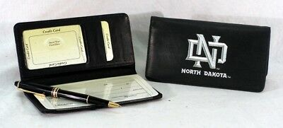 University of North Dakota NCAA Licensed Leather Embroidered Checkbook Cover