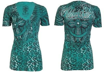 Rebel Saints AFFLICTION Womens T-Shirt FLYER Tattoo Biker UFC Sinful S-XL $40