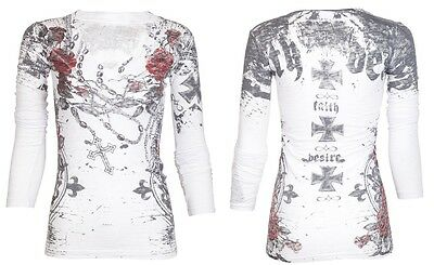 Archaic AFFLICTION Womens LS T-Shirt LA FLOR Tattoo Biker UFC Sinful S-XL $58