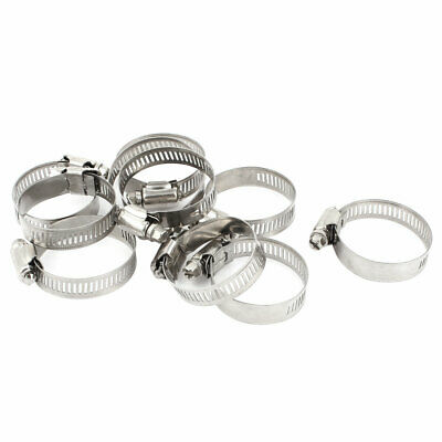 10 Pieces Stainless Steel Adjustable Pipe Hose Clamp Hoop 21-44mm