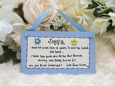 D12S Personalised Will you be my Godmother, Godfather, Godparents gift plaque