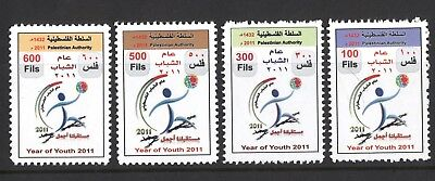 Palestine 2011 Year Of Youth Set Of 4 Mint Stamps