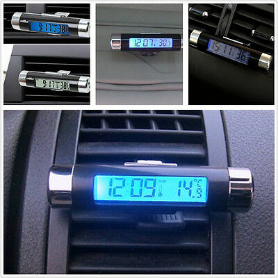 Car Interior Air Vent Clip-on Blue Backlight Digital Thermometer Time Clock 2IN1