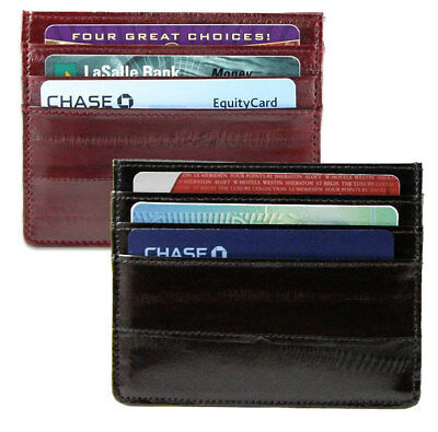 EEL SKIN Leather Men Slim Thin Flat Light Credit Card Holder Case Sleeve Wallet