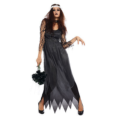 Donna Cosplay costume Halloween Sposa Cadavere Nero Carnevale Party