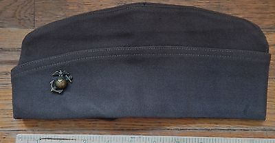 U.S. MARINE CORP OFFICERS CAP, SIZE 6 7/8 SILK LINED, NO ROPE EG&A BADGE WW2?