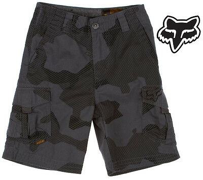 FOX RACING BOYS SLAMBOZO CARGO SHORTS motocross kids 4 5 6 7 YEAR CHARCOAL CAMO