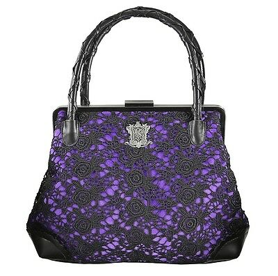disney parks haunted mansion 45th purple & black lace hand bag tote new w tags