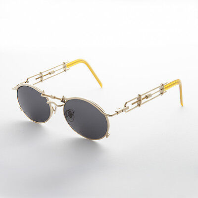 Vintage Steampunk Sunglasses Oval Lens Intricate Temple Gold NOS-Cyrus