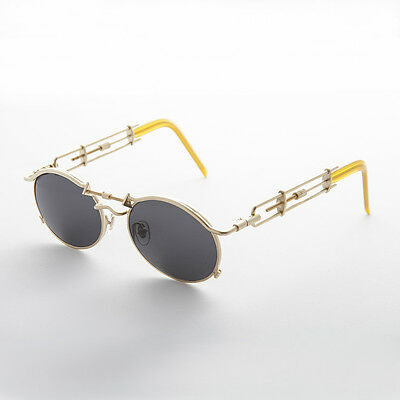 Vintage Steampunk Sunglasses Oval Lens Intricate Temple Gold -Cyrus