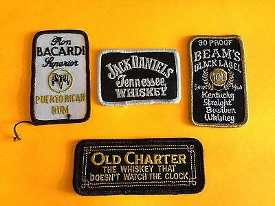 Vintage Lot 4 Embroidered Liquor Patches Beams Old Charter Jack Daniels Bacardi