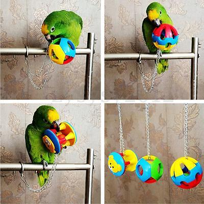 Colorful Plastic Bird Parrot Hang Cage Climbing Toy Swing Ball Budgie Cockatiel
