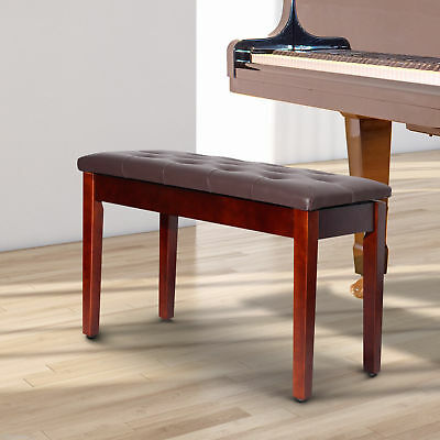 HOMCOM Padded Storage Piano Benches Wood Double Artists Keyboard Seat Brown