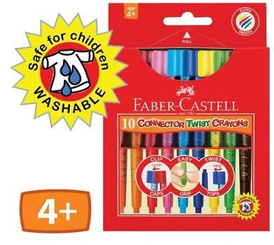 Faber-Castell Connector Twist Crayons 10 Pk ~ Triangular Grip Zone ~ Washable
