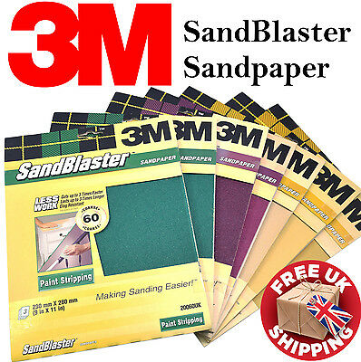 3M Sandblaster Sandpaper Sheets Paint Stripping, Bare Surfaces & Between Coats