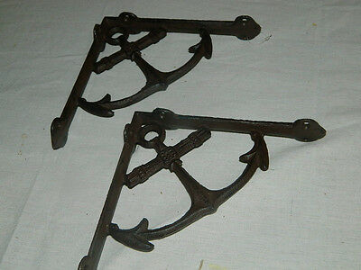 Set/2 Rustic Cast Iron Nautical Ship Anchor Shelf Support Brackets  Decor~New