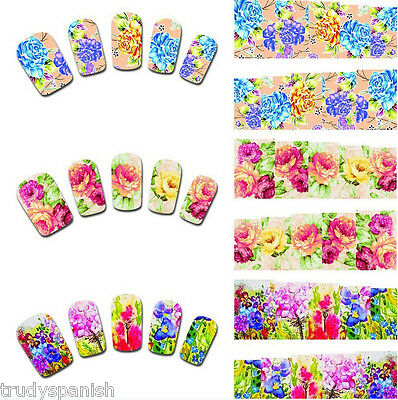 Nail Art Stickers Water Decals Nail Transfers Wraps Flowers Floral Roses