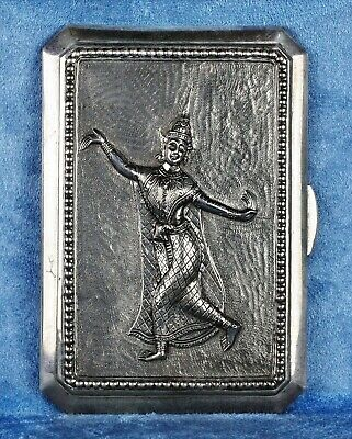 Rare 1900 Antique Asian Burmese Siam Embossed Silver Pocket Cigarette Case Box