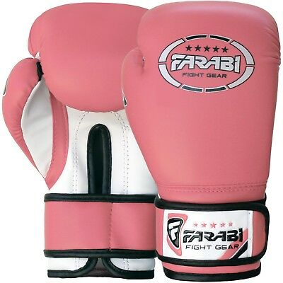 Farabi Pink Boxing Gloves Kickboxing Sparring Bag Training MMA 6-oz 8-oz Pair