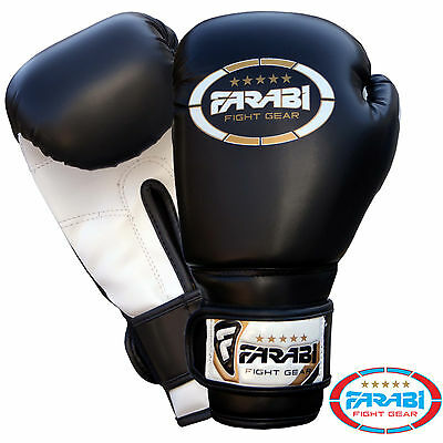 Farabi Kids Boxing Gloves MMA Synthetic Leather Sparring Gloves Black