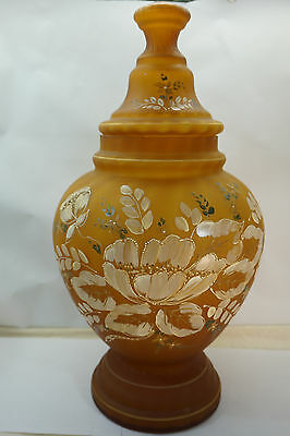 ANTIQUE APOTHECARY JAR HUGE 19in TALL HAND PAINTED FLORAL 31in GIRTH GLASS