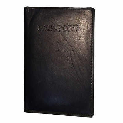 BLACK INTERNATIONAL PASSPORT 100% COWHIDE LEATHER COVER Travel Card Case Wallet