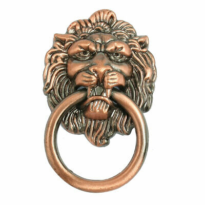 Copper Tone Lion Head Shaped Closet Cupboard Gate Door Pull Handle Knob 2.5""