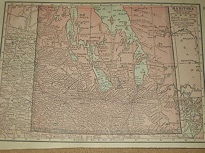 1909 Antique  Map Manitoba / Alberta Saskatchewan    Free Shipping