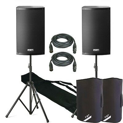 "FBT X-Lite 12A 12"" Active DJ Club Stereo 2000W PA Speaker Stand & Cable Package"