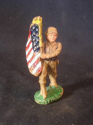 Old Vtg Composite Military Soldier Holding American Flag Made In The USA