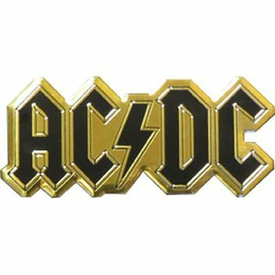AC/DC LOGO - METAL STICKER 3.5 x 1.5 - BRAND NEW - CAR DECAL 7619