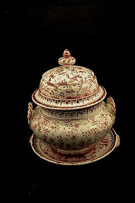 Berardos Portugal Covered Tureen with Underplate Deer Birds SEC XVII LC