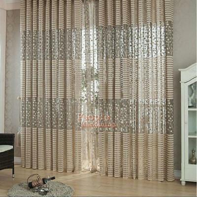Leaf Tulle Door Window Curtain Drape Panel Sheer Scarf Valances Room Home Decor