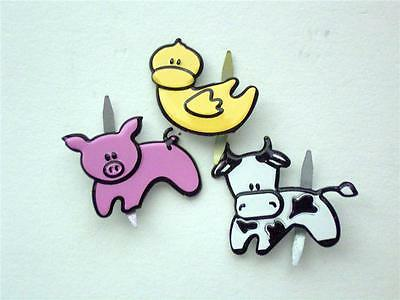 BRADS FARM ANIMALS pk of 6 pig cow duck scrapbooking craft split pin