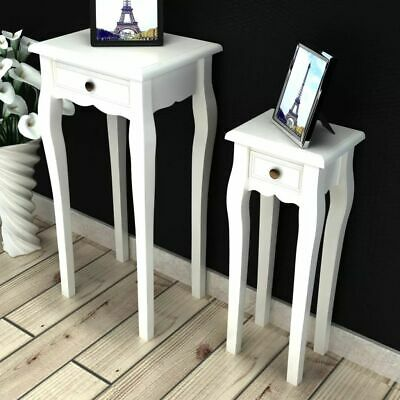 NEW White Telephone Side Table with Drawer 2 Sizes End Table Plant Nightstand