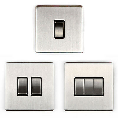 Area 1/2/3 Gang Wall On/Off Light Switch Brushed Chrome Finish Screwless