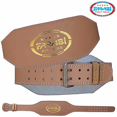 "Farabi Weight Lifting Belt Gym Training Fitness 6"" Back Support Strap Brown"