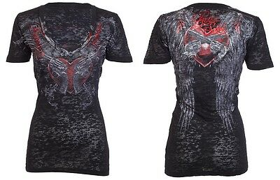 Rebel Saints AFFLICTION Womens T-Shirt FATALE Guns Tattoo Biker Sinful S-XL $40