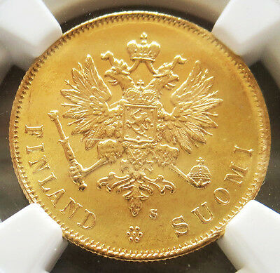 1913 S Gold Finland / Imperial Russia 10 Markkaa Ngc Mint State 66