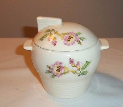 Vintage Leigh Potters Covered Sugar Bowl W/ Lid Petit Point Leigh Ware Art Deco