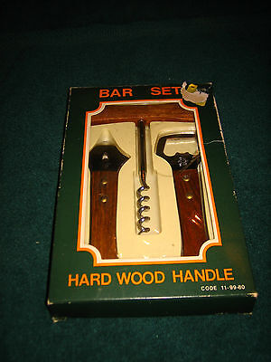 VINTAGE 3 PIECE BAR SET WITH HARD WOOD HANDLES~NEW IN BOX~MADE IN JAPAN~L@@K~