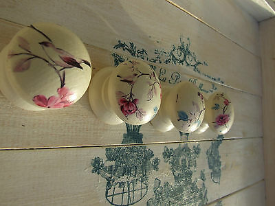 Cream Birds And Flowers 'shabby Chic' Style Knobs For Cupboards And Drawers