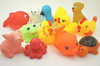 lovely Toddler Infant Kids Baby Bath Float Swimming dolls sound Toy Animals 13pc