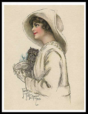 Affenpinscher And Lady Lovely Vintage Style Dog Art Print Poster